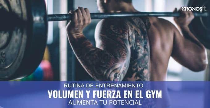 Rutina volumen y fuerza en el gym