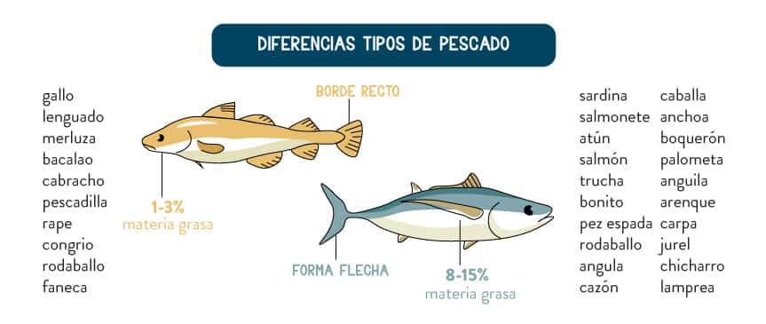 Diferencia Pescado Azul o Pescado Blanco